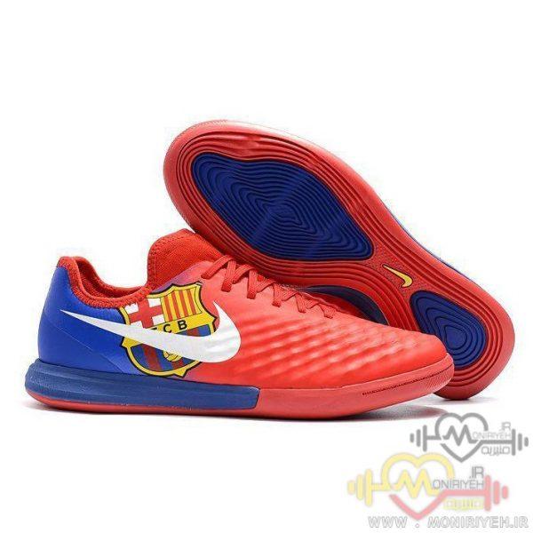 کفش فوتبال سالنی نایک – قرمز آبی- طرح بارسلونا
