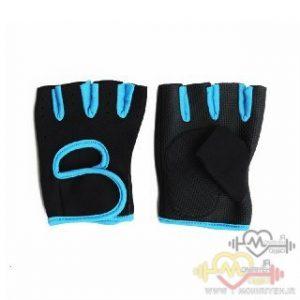 دستکش بدنسازی بانوان فوم PU – مشکی آبی