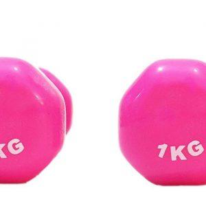 دمبل ایروبیک روکش دار 1 کیلوگرمی مدل 02-Pink بسته دو عددی