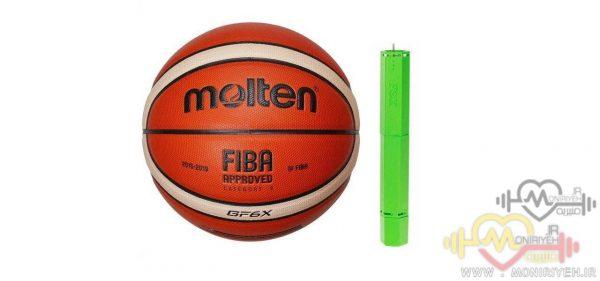 توپ بسکتبال molten مدل GF6X به همراه تلمبه فاکس